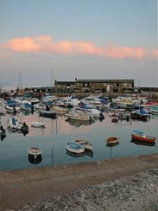 Lyme Regis harbour in the evening