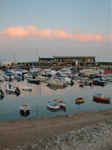 Lyme Regis harbour in the evening